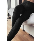 Lovely Casual Fold Design Black Pants