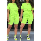 Lovely Casual Basic Green Two-piece Shorts Set