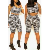 Lovely Chic Print White Two-piece Shorts Set