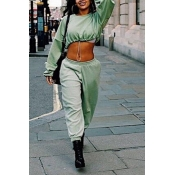 Lovely Casual  Crop Top Green Two-piece Pants Set