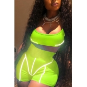 Lovely Trendy Patchwork Green Two-piece Shorts Set