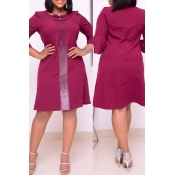 Lovely Casual Basic Wine Red Knee Length Plus Size