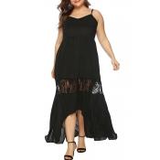 Lovely Casual V Neck Patchwork Black Ankle Length