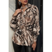 Lovely Casual Print Python Blouse