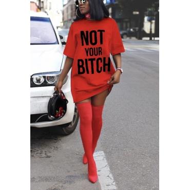 Lovely Chic Letter Print Red Mini T-shirt Dress