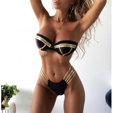Lovely Patchwork Hollow-out Black Swimwear