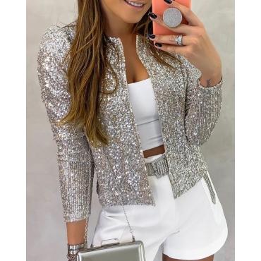 Lovely Casual Basic Short Silver Coat