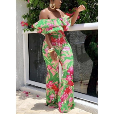 Lovely Trendy Floral Print Flounce Green One-piece Jumpsuit