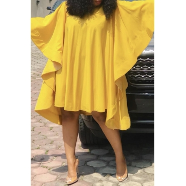 Lovely Chic Loose Flounce Design Yellow Knee Length Dress