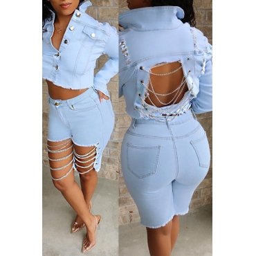 Lovely Trendy Hollow-out Baby Blue Shorts
