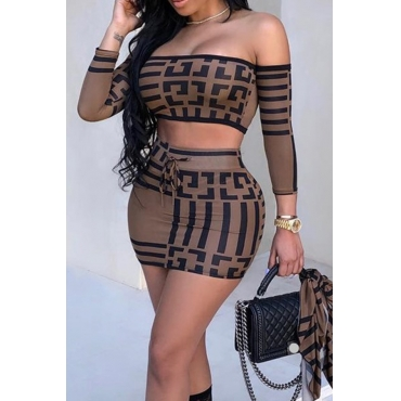 Lovely Casual Geometric Print Coffee Two-piece Skirt Set