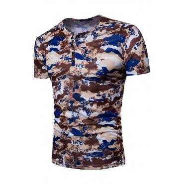 Lovely Casual Short Sleeve Print Khaki T-shirt