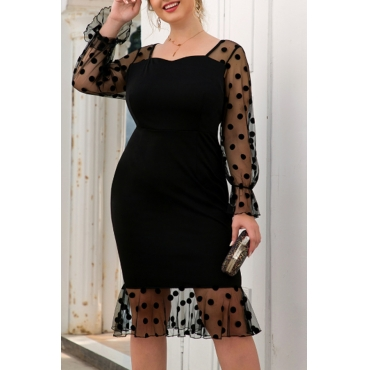 Lovely Chic Patchwork Black Knee Length Plus Size Dress