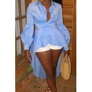 Lovely Sweet Asymmetrical Blue Blouse