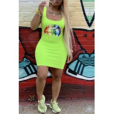 Lovely Chic U Neck Letter Print Green Mini Dress
