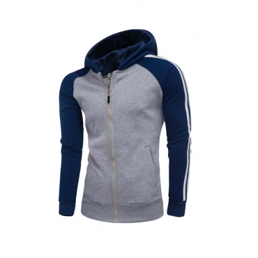 Lovely Casual Hooded Collar Color-lump Grey Hoodie