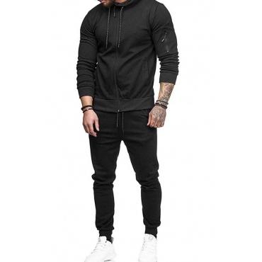 Lovely Casual Zipper Design Black Two-piece Pants Set
