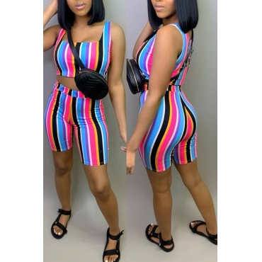 Lovely Casual Striped Print Black Two-piece Shorts Set