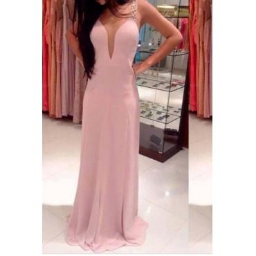 Lovely Party V Neck Backless Pink Evening Dress