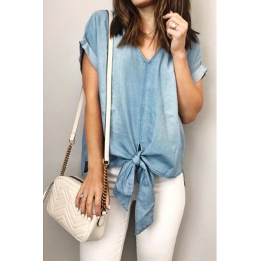 Lovely Casual Knot Design Basic T-shirt