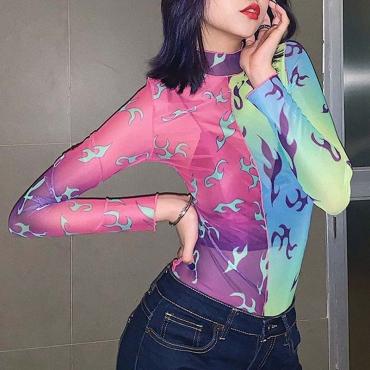 Lovely Casual Print Multicolor Bodysuit