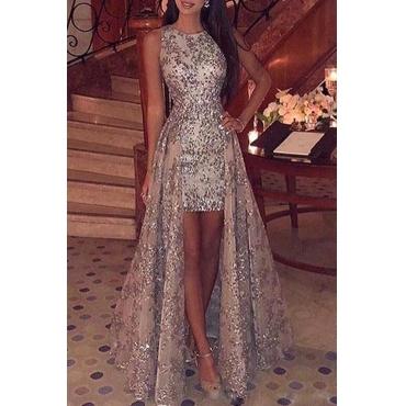 Lovely Trendy O Neck Asymmetrical Gold Floor Length Dress