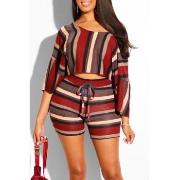 Lovely Casual Striped Print Multicolor Two-piece Shorts Set