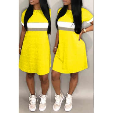 Lovely Casual O Neck Patchwork Yellow Knee Length Dress