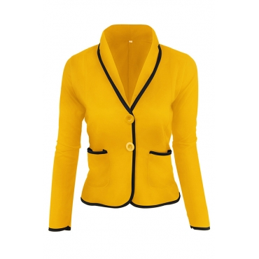 Lovely Trendy Buttons Design Yellow Blazer