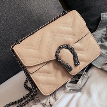 Lovely Trendy Chain Strap Light Coffee Crossbody Bag