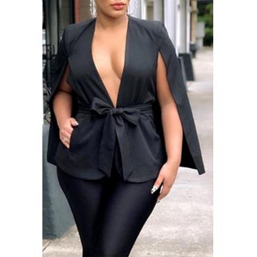 Lovely Trendy Lace-up Black Blazer