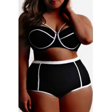 Lovely Patchwork Black Plus Size Two-piece Swimsuit