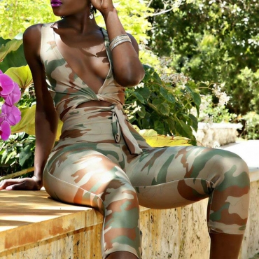 Lovely Casual Camouflage Print Two-piece Pants Set