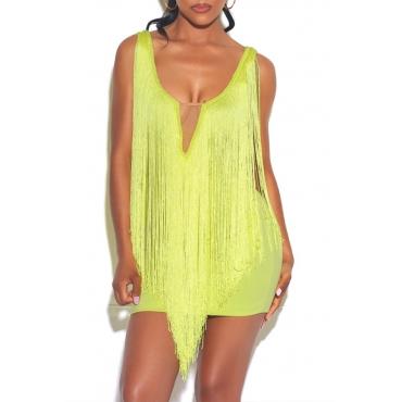 Lovely Chic Tassel Design Yellow Mini Dress