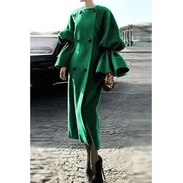 Lovely Casual Flounce Green Plus Size Coat