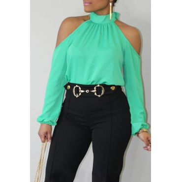 Lovely Trendy Dew Shoulder Green Blouse