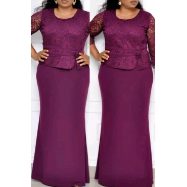 Lovely Casual Patchwork Purple Maxi Trumpet Mermaid  Plus Size Dress