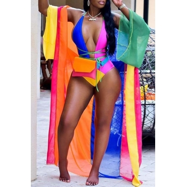 Lovely Print Multicolor One-piece Swimsuit(Cover-up)