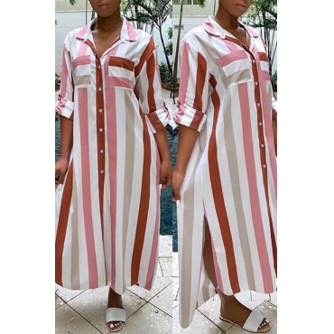 Lovely Chic Striped Loose Pink Ankle Length Dress