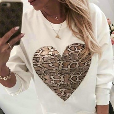 Lovely Casual Heart Print White Hoodie