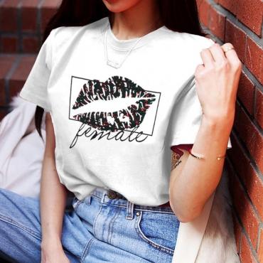 Lovely Casual Lip Print White T-shirt