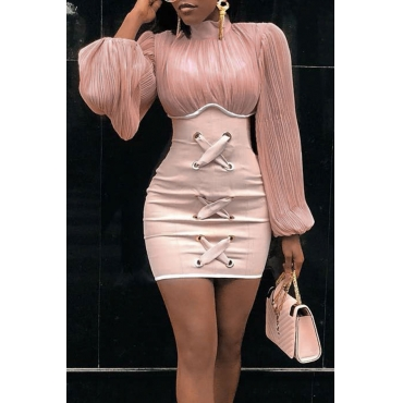 Lovely Chic Patchwork Pink Mini Dress