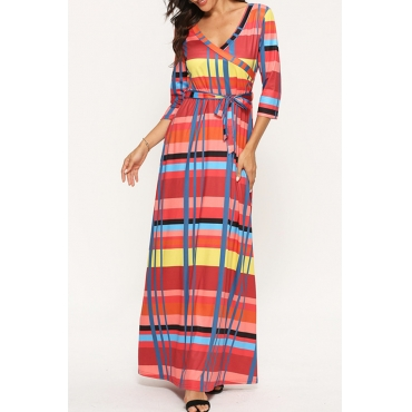 Lovely Chic Plaid Print Red Ankle Length Dress