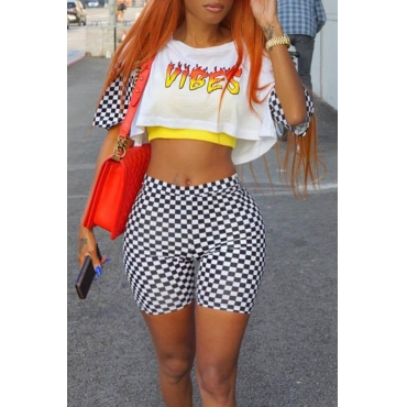 Lovely Casual Plaid Print White Two-piece Shorts Set