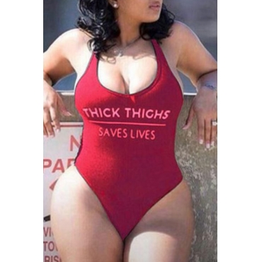 Lovely Letter Print Wine Red Plus Size One-piece Swimsuit