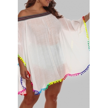 Lovely Chic Loose White Plus Size Beach Blouse Cover-up