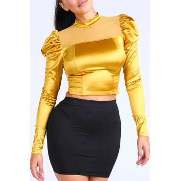 Lovely Leisure Basic Gold Yellow  Blouse