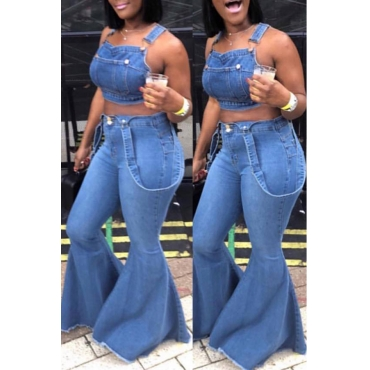 Lovely Casual Backless Baby Blue Two-piece Pants Set