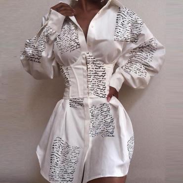 Lovely Sweet Print White Mini Dress