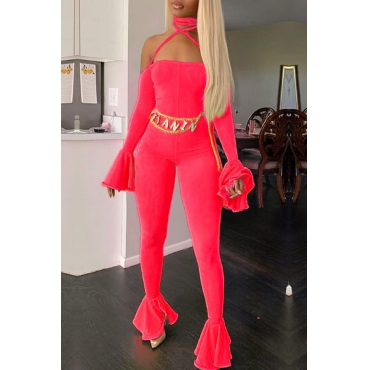 Lovely Chic Hollow-out Red One-piece Jumpsuit
